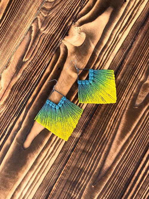 Kolczyki plecione żółte