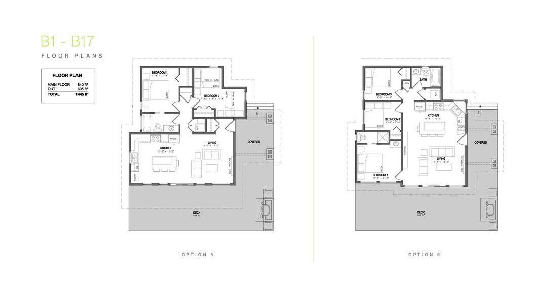 Kapasiwin Bungalows - Floor Plans for B1-B17
