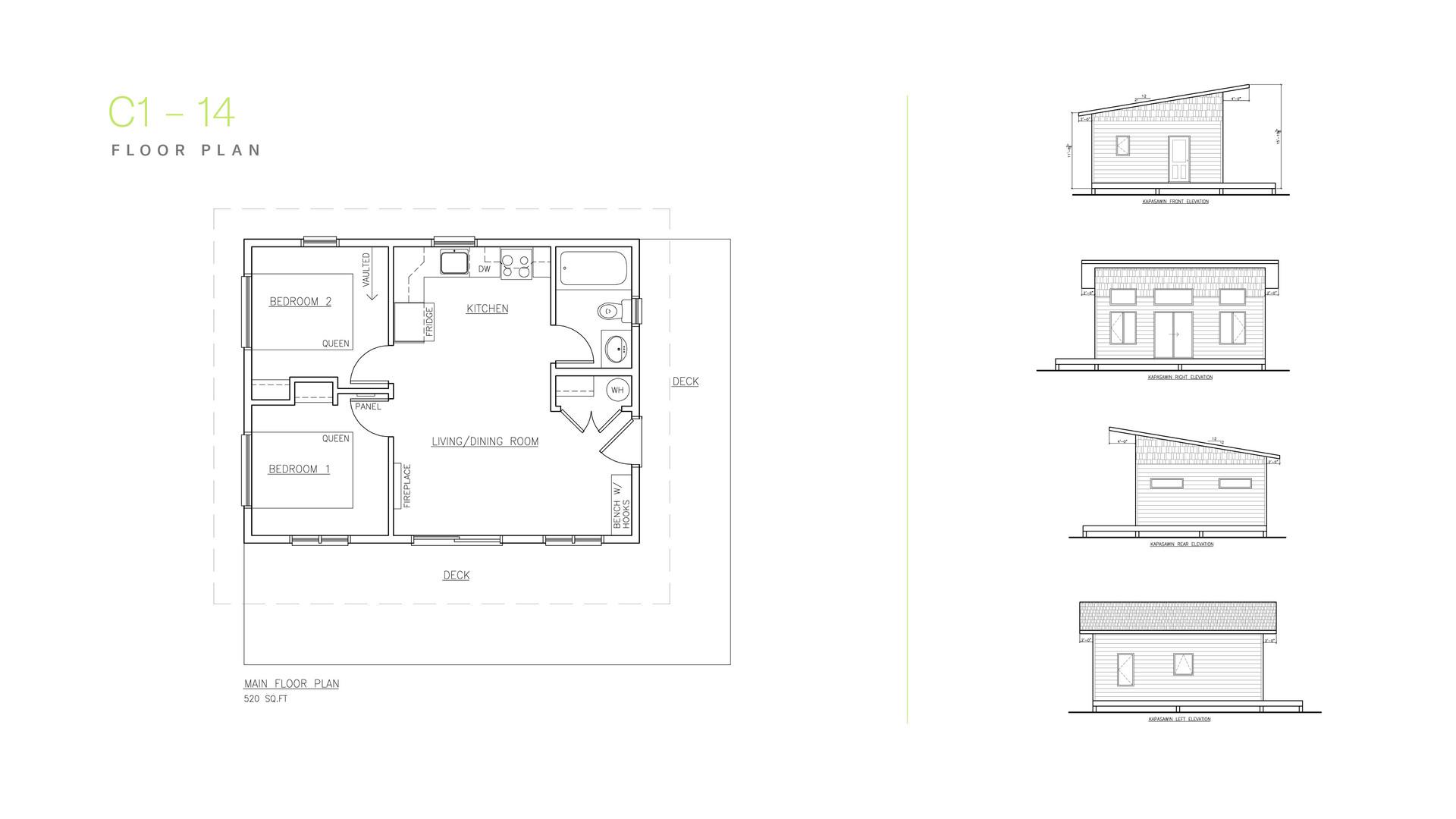 Kapasiwin Bungalows Floor Plan C1-C14