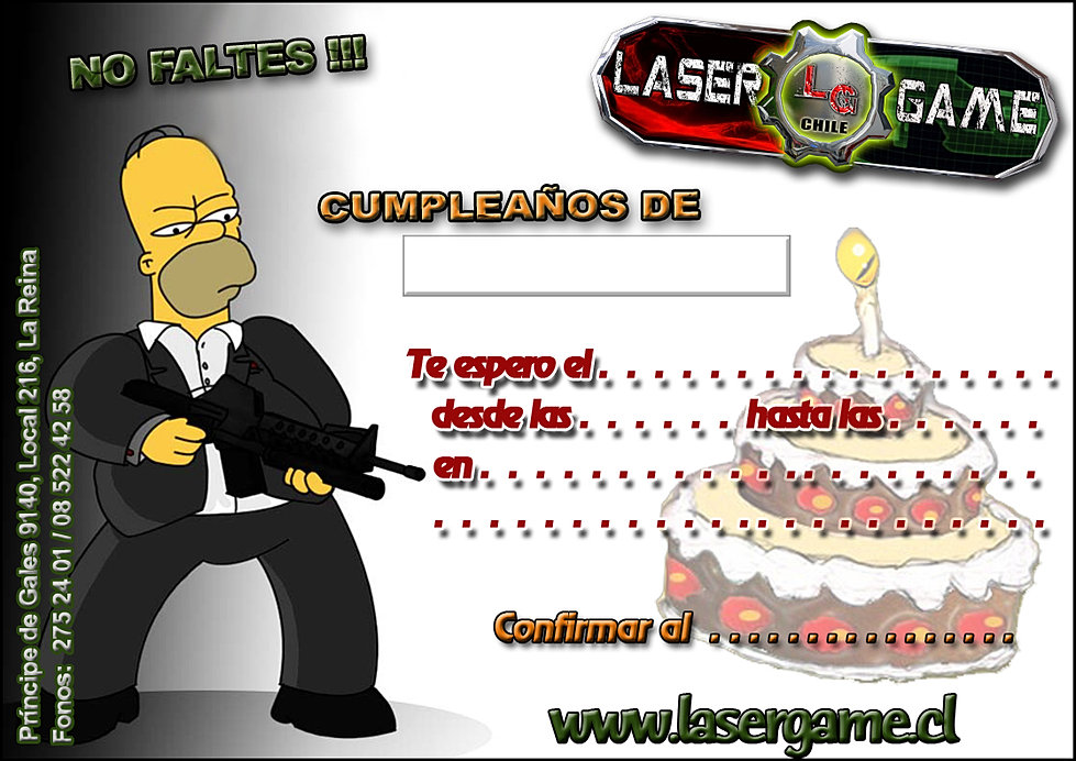 Tarjetas de cumplea os laser game chile - Modelos de tarjetas de cumpleanos para adultos ...