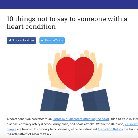 """""""10 things not to say to someone with a heart condition"""""""