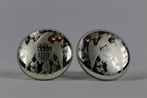 Rare Pair of American Eagle Mercury Glass Tiebacks