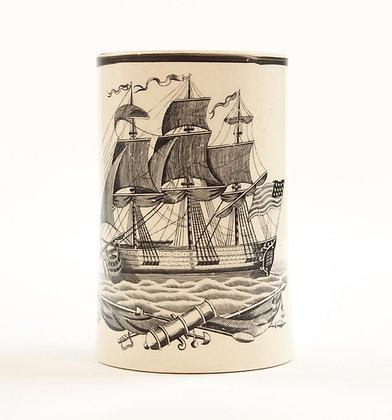 Liverpool Creamware Tankard with American Ship