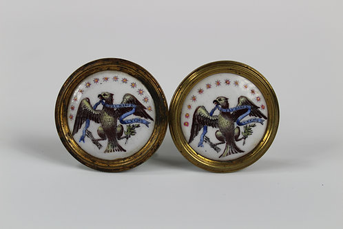 Circa 1800 Battersea American Eagle Tiebacks