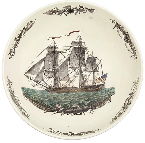 Large Historical Patriotic Creamware Bowl