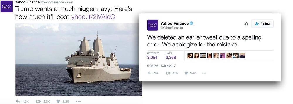Screenshot of Yahoo Finance tweets