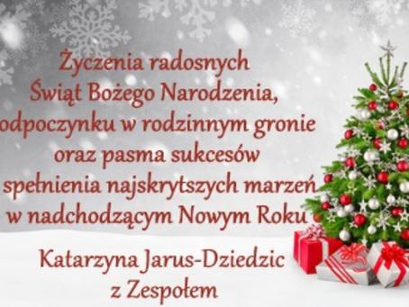 Zdrowych, pogodnych oraz wesołych Świąt Bożego Narodzenia oraz szczęśliwego Nowego Roku!