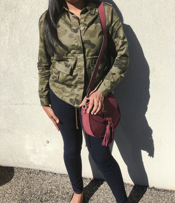 Green & Burgundy Casual Outfit