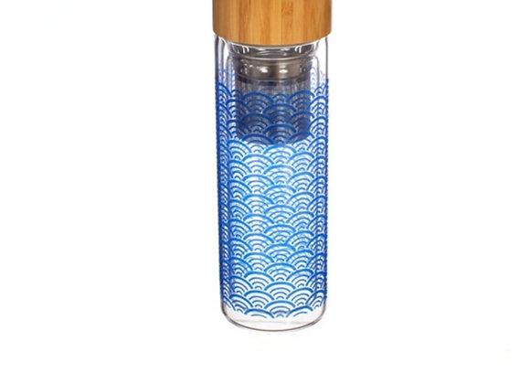 Blue Wave Glass Water Bottle