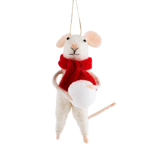 Felted snowball mice hanging decoration