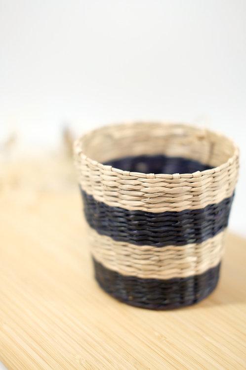 Scandi Seagrass Planter - Black Stripe