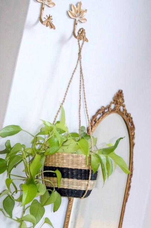 Scandi Seagrass Hanging Planter - Black stripe