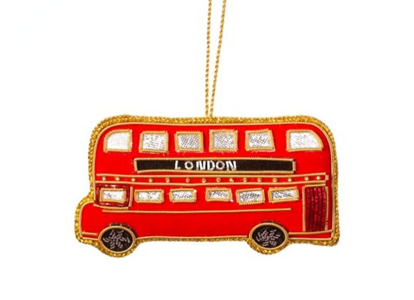 London bus embroidered tree decoration