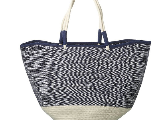 Blue & White Cotton Shopper