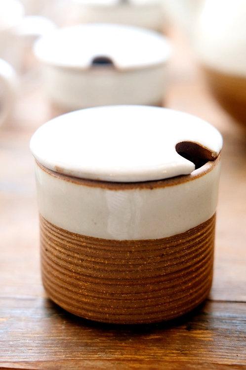 White ribbed sugar pot