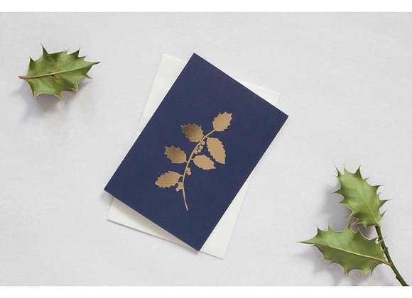 Foil Blocked Card, Holly Print in Navy/Brass
