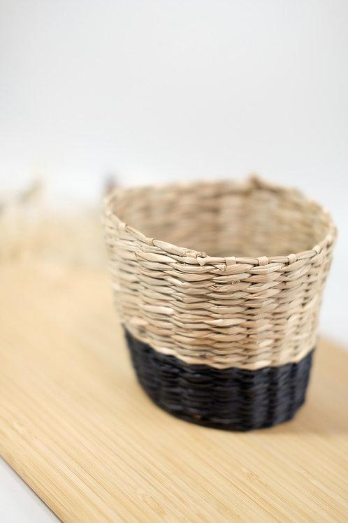 Scandi Seagrass planter - Black trim - Small