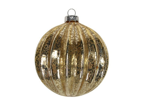 Gold glass ribbed bauble
