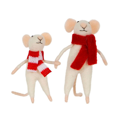 Felted Mice Family Standing Decoration