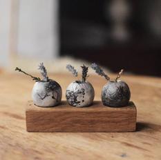 Trio of Mini Bonfire Pots on Oak Stand
