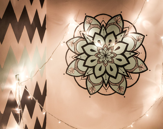 Chevron wall pattern with contrasting mandala