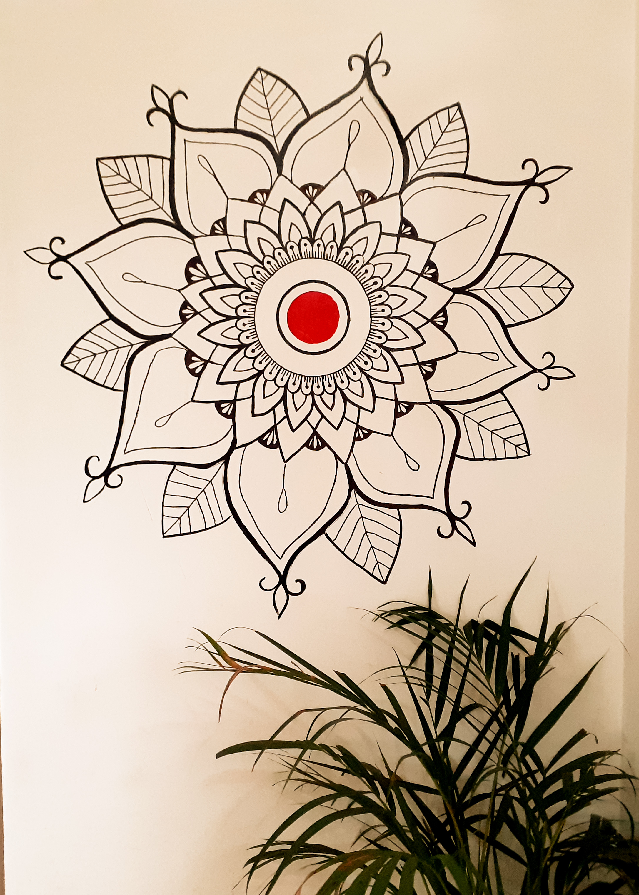 Black and white red dot mandala
