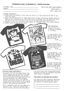 Forbidden Planet T-Shirt Order Form