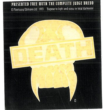 Judge Death Sticker given away with The Complete Judge Dredd 21