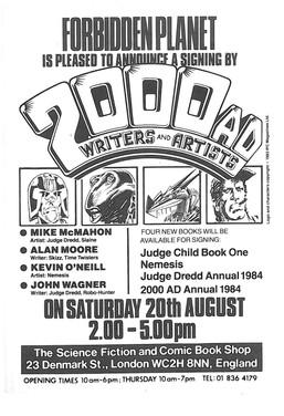 Forbidden Planet 2000ad Signing Flyer 1983