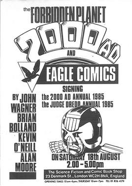 Forbidden Planet 2000ad Signing Flyer 1985