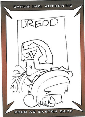 Strictly Ink Sketch Card Dredd Charlie Adlard
