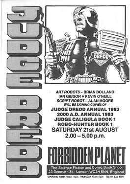 Forbidden Planet 2000ad Signing Flyer 1982