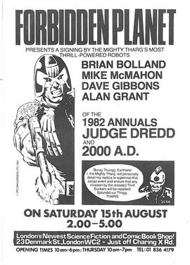 Forbidden Planet 2000ad Signing Flyer 1981