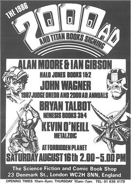 Forbidden Planet 2000ad Signing Flyer 1986