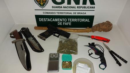 GNR:  Apreensão de armas e estupefacientes em processo de ameaças