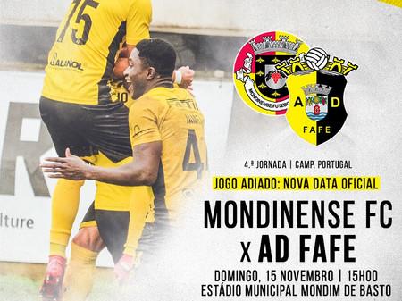 Futebol: Mondinense  - AD Fafe vai jogar-se a 15 de novembro.