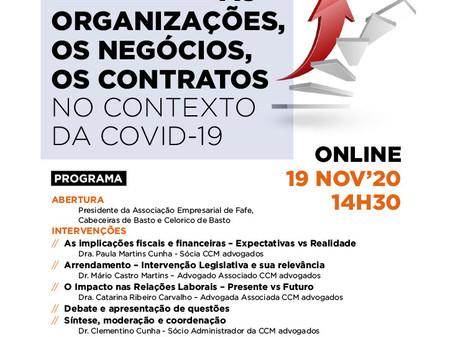 """Covid-19   Webinar – """"As Organizações, os negócios, os contratos no contexto da Covid 19"""""""