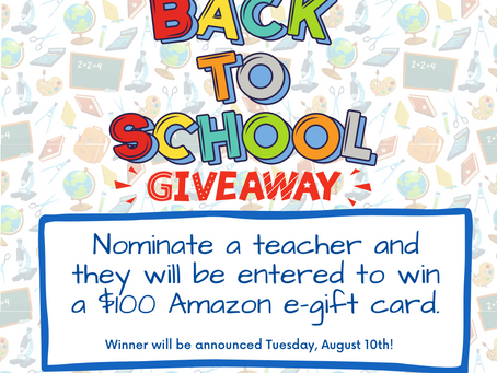 Nominate a Teacher for $100 giveaway