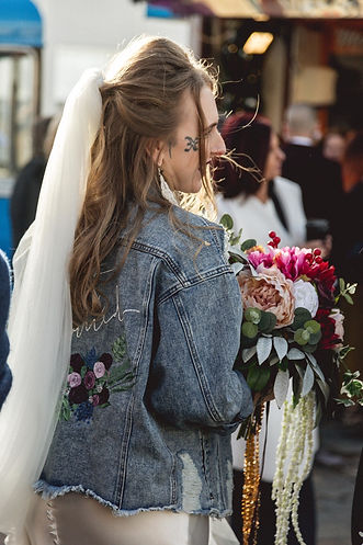 Personalised Wedding Jacket on Bride