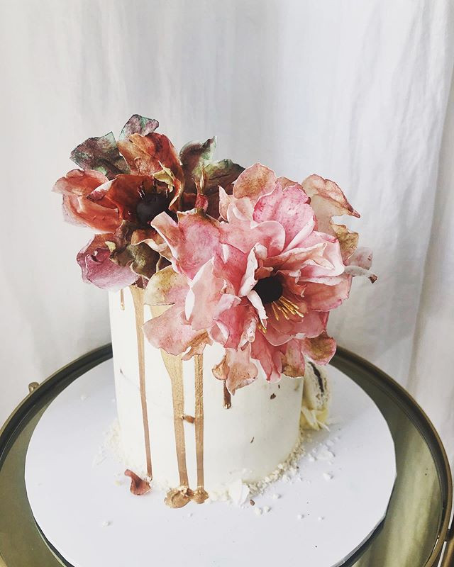 Layer Cake fleurs comestibles