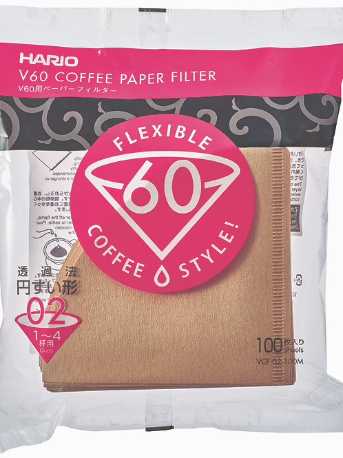 Hario Paper Coffee Filters Natural 100 Pack