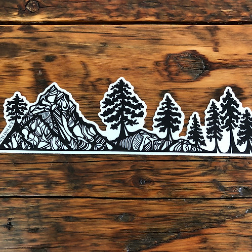 Forest Mountains Bottle Wrap Sticker