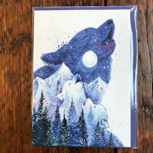 Moon Song Wolf Art Card