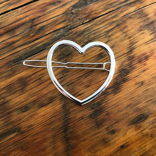 Silver Heart Barrette