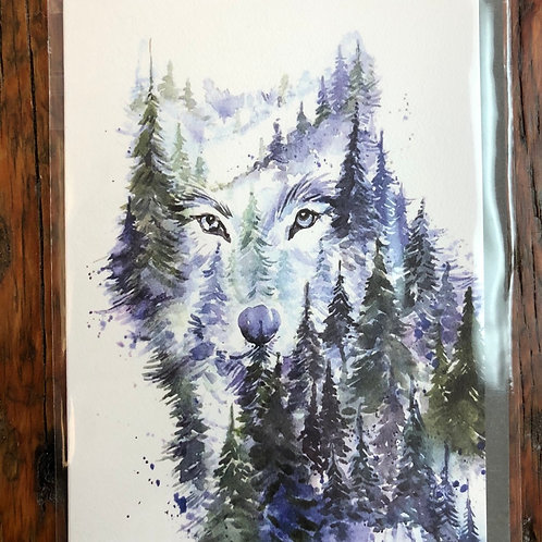 Young Wolf Art Card