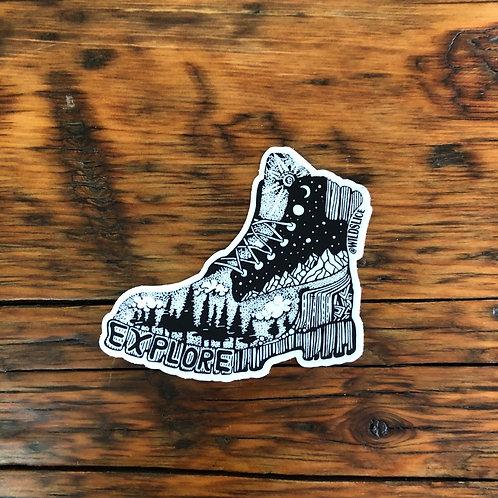 Explore Hiking Boot Sticker