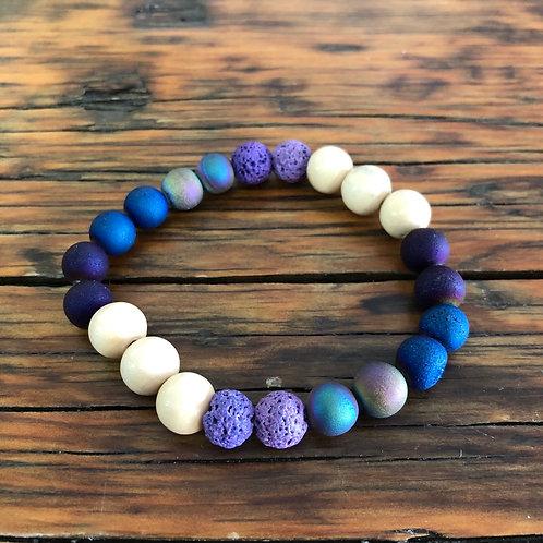 Purple, Wood and Lava Bead Bracelet