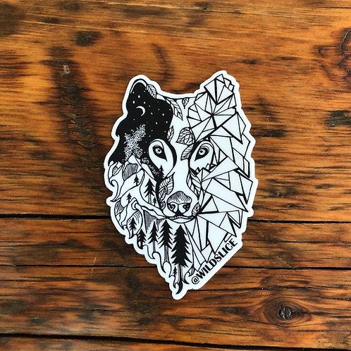 Geo Forest Wolf Sticker