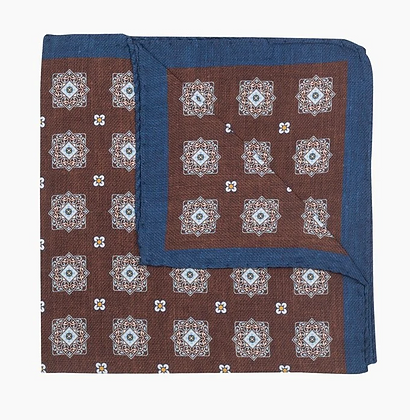 Brown geometric silk pocket square