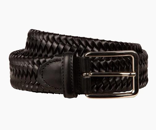 Italian black woven belt